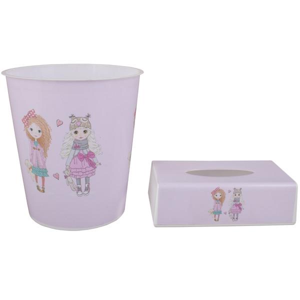 ست سطل و جادستمال اتاق کودک طرح دو دختر کد 1116