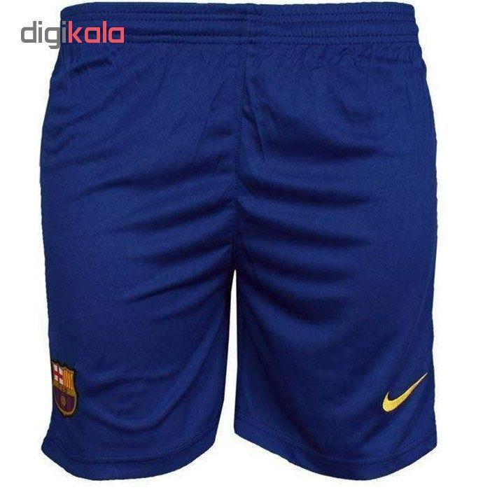 خرید اینترنتی با تخفیف ویژه ست پیراهن و شورت ورزشی مردانه طرح بارسلونا مدل 20-2019 کد pst رنگ زرد