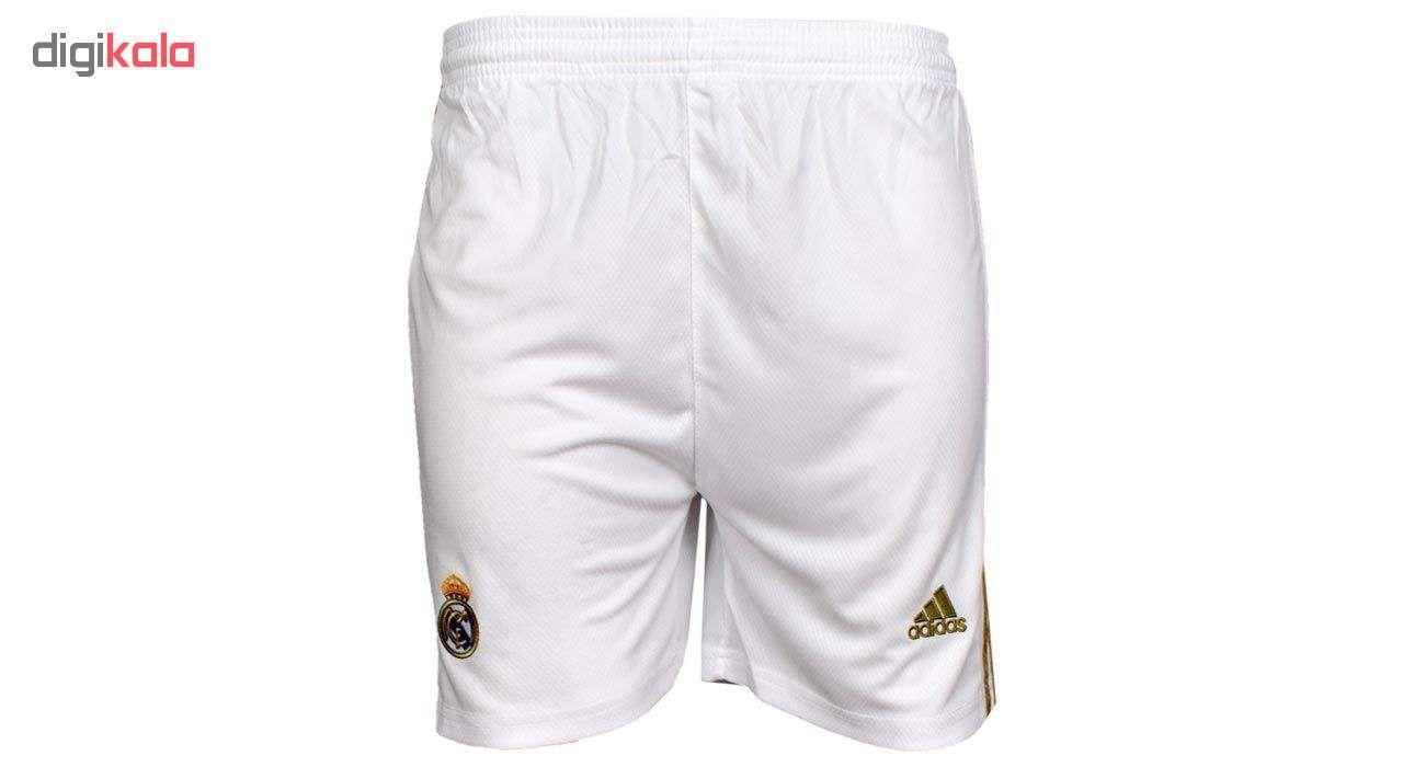 ست پیراهن و شورت ورزشی مردانه طرح رئال مادرید مدل 20-2019 کد pst رنگ سفید