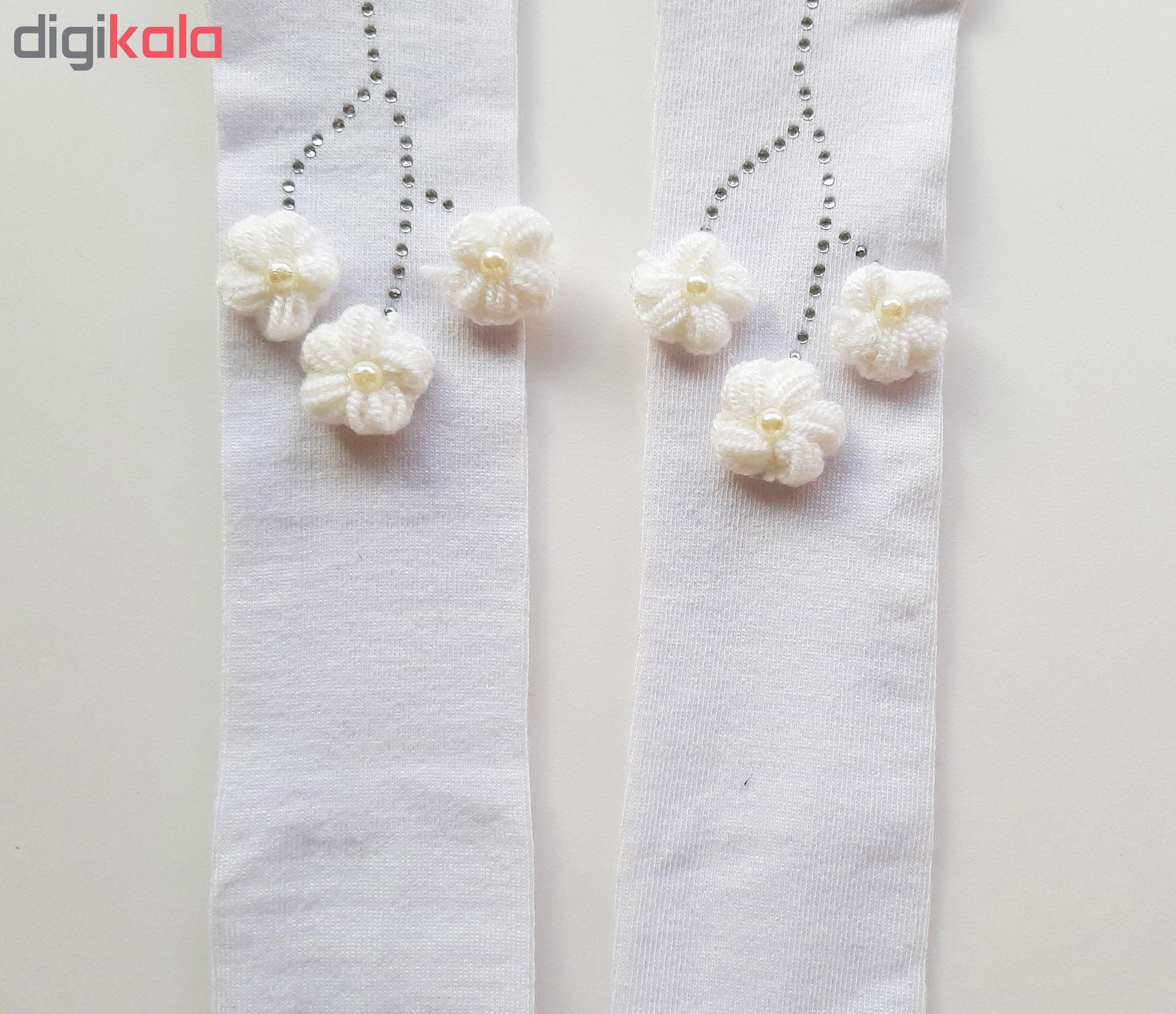 جوراب شلواری نوزادی دخترانه کد 3300 رنگ سفید main 1 2