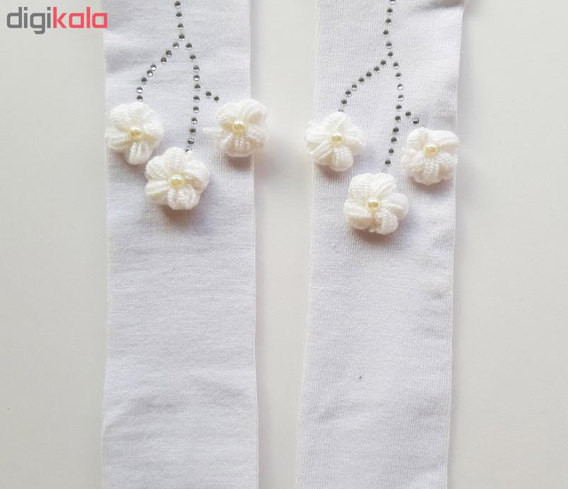 جوراب شلواری نوزادی دخترانه کد 3300 رنگ سفید
