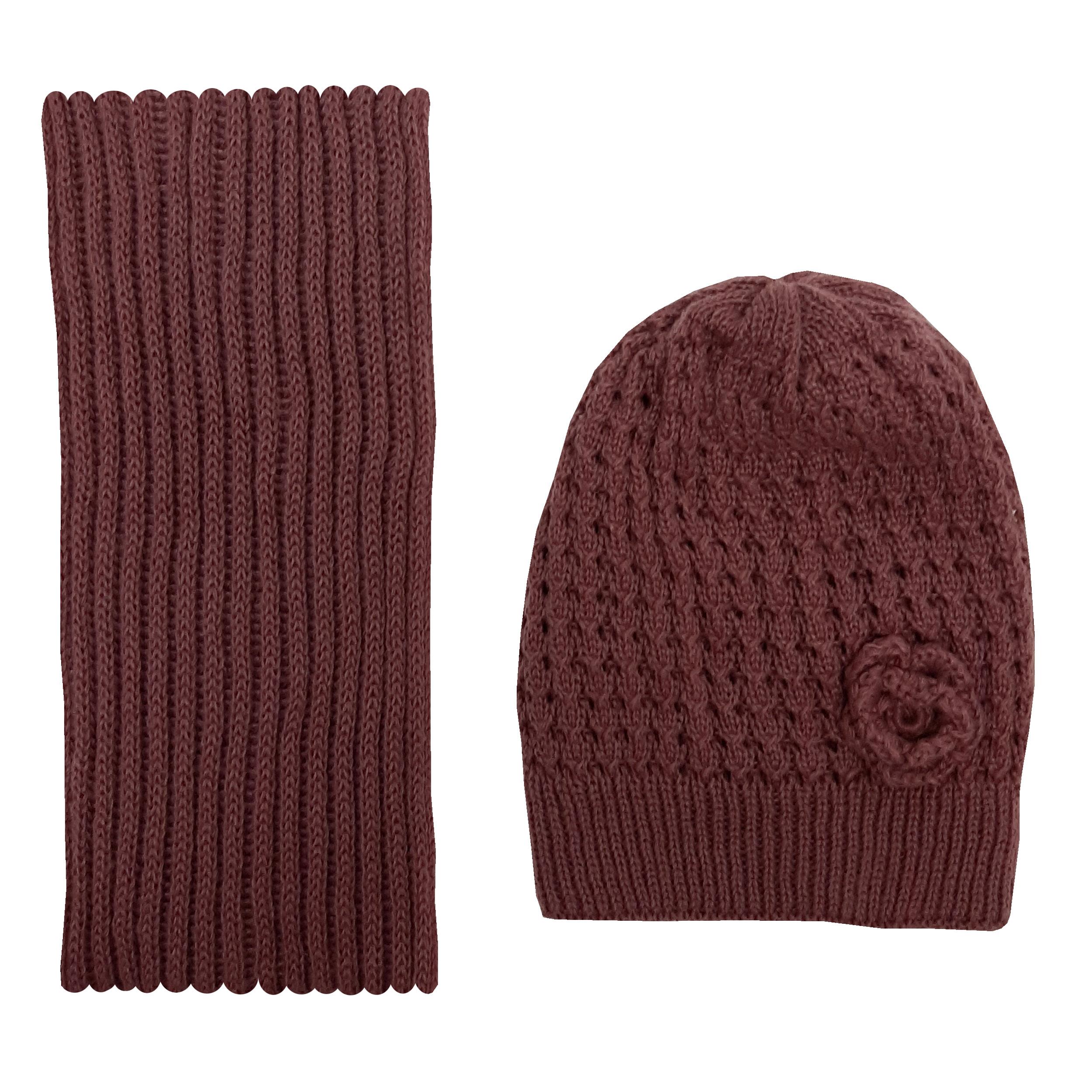 ست کلاه و شال گردن بافتنی دخترانه کد MA44-33