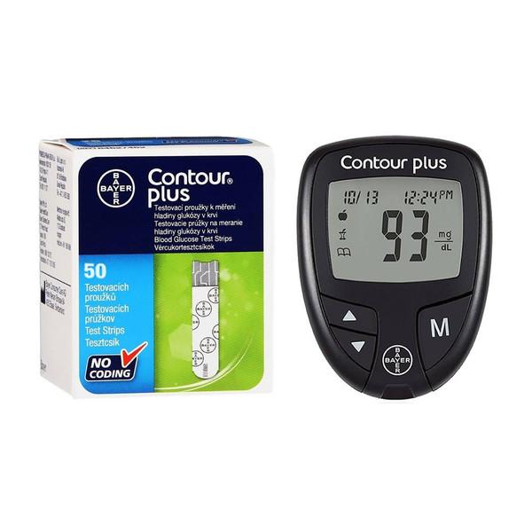 دستگاه تست قند خون بایر مدل Contour Plus به همراه نوار تست قند خون بسته 50 عددی