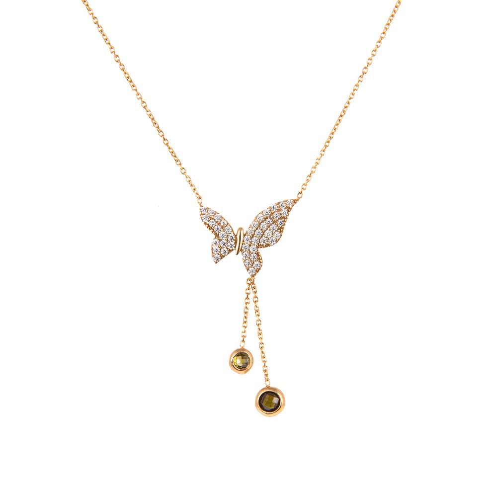 گردنبند طلا 18 عیار زنانه طرح پروانه کد ACN316