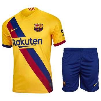 ست پیراهن و شورت ورزشی مردانه طرح بارسلونا مدل 20-2019 کد pst رنگ زرد