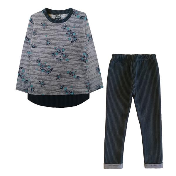 ست تی شرت و شلوار دخترانه کد 001 رنگ آبی