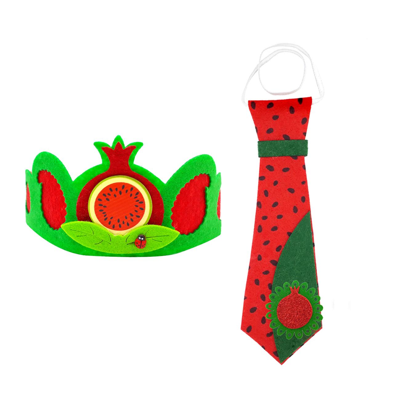 عکس کراوات تزیینی طرح هندوانه یلدا مدل mk395 به همراه تل مو