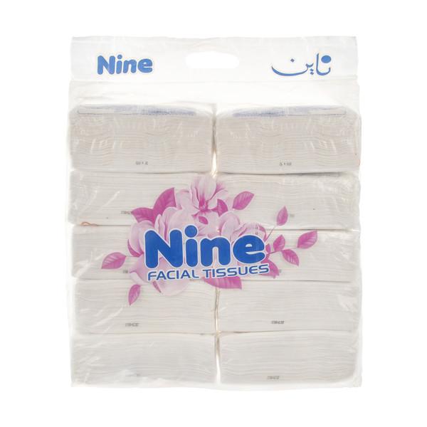 دستمال کاغذی 100 برگ ناین مدل N1 بسته 10 عددی