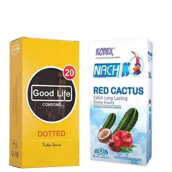 کاندوم ناچ کدکس مدل Red Cactus بسته 12 عددی به همراه کاندوم گودلایف مدل Dotted بسته 12 عددی