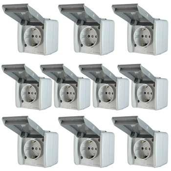 پریز برق روکار پی بی آی مدل ip44 ceramic بسته 10 عددی
