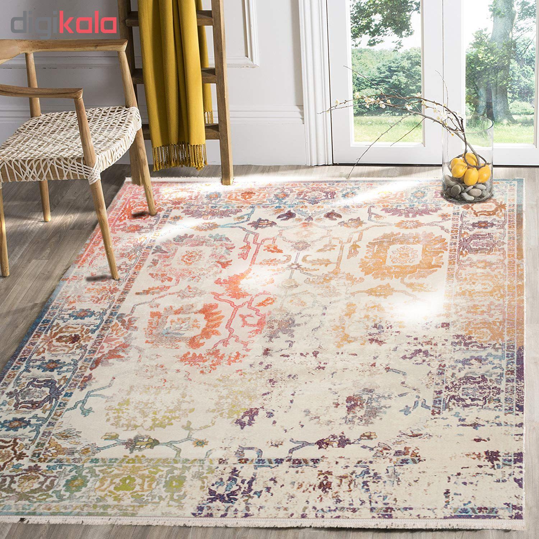 فرش ماشینی محتشم طرح کهنه نما کد 100616 زمینه کرم