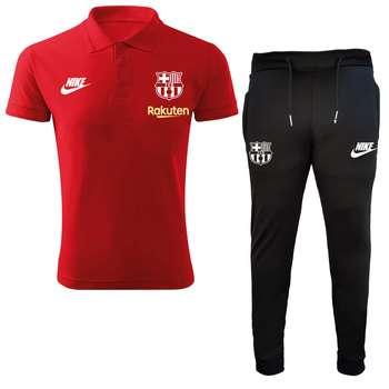 ست پولوشرت و شلوار ورزشی مردانه طرح بارسلونا کد 0098