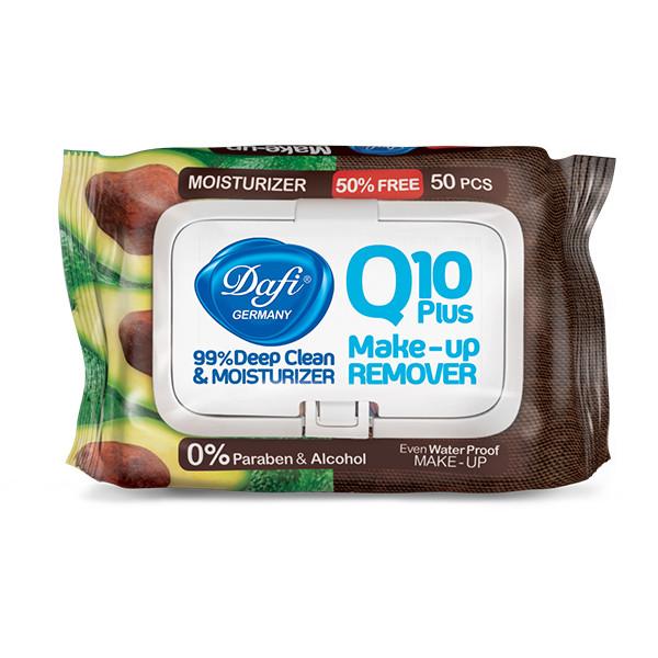 دستمال مرطوب پاک کننده آرایش دافی مدل Q10 PLUS بسته 50 عددی