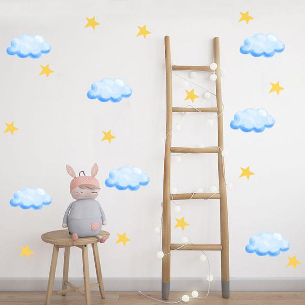 استیکر اتاق کودک طرح 01 clouds بسته 20 عددی