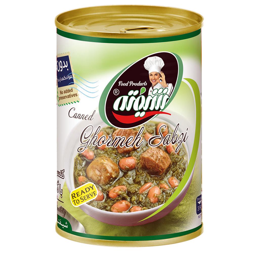 کنسرو قرمه سبزی با گوشت شیفته مقدار 370 گرم