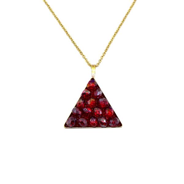 گردنبند زنانه آی جواهر طرح مثلث و دانه انار کد 11817G