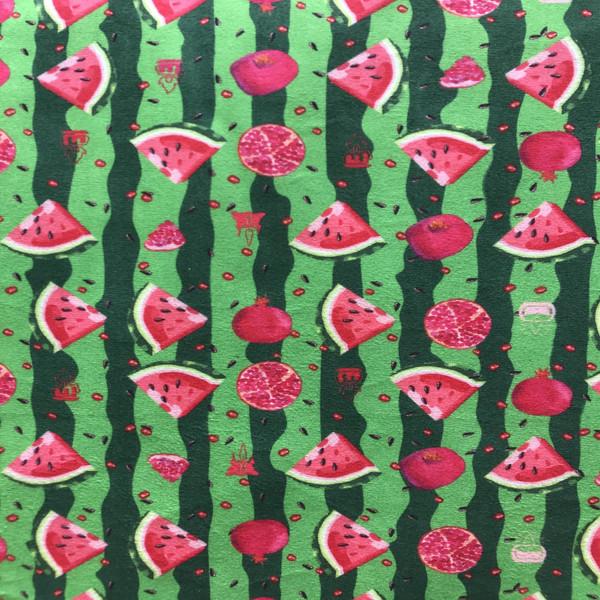 پارچه لباسی طرح هندوانه و انار کد 1111