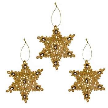 آویز تزیینی درخت کریسمس طرح ستاره مدل CALL07 بسته 3 عددی