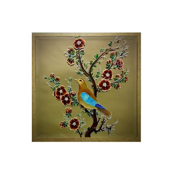 تابلو نقاشی ویترای طرح گل و مرغ