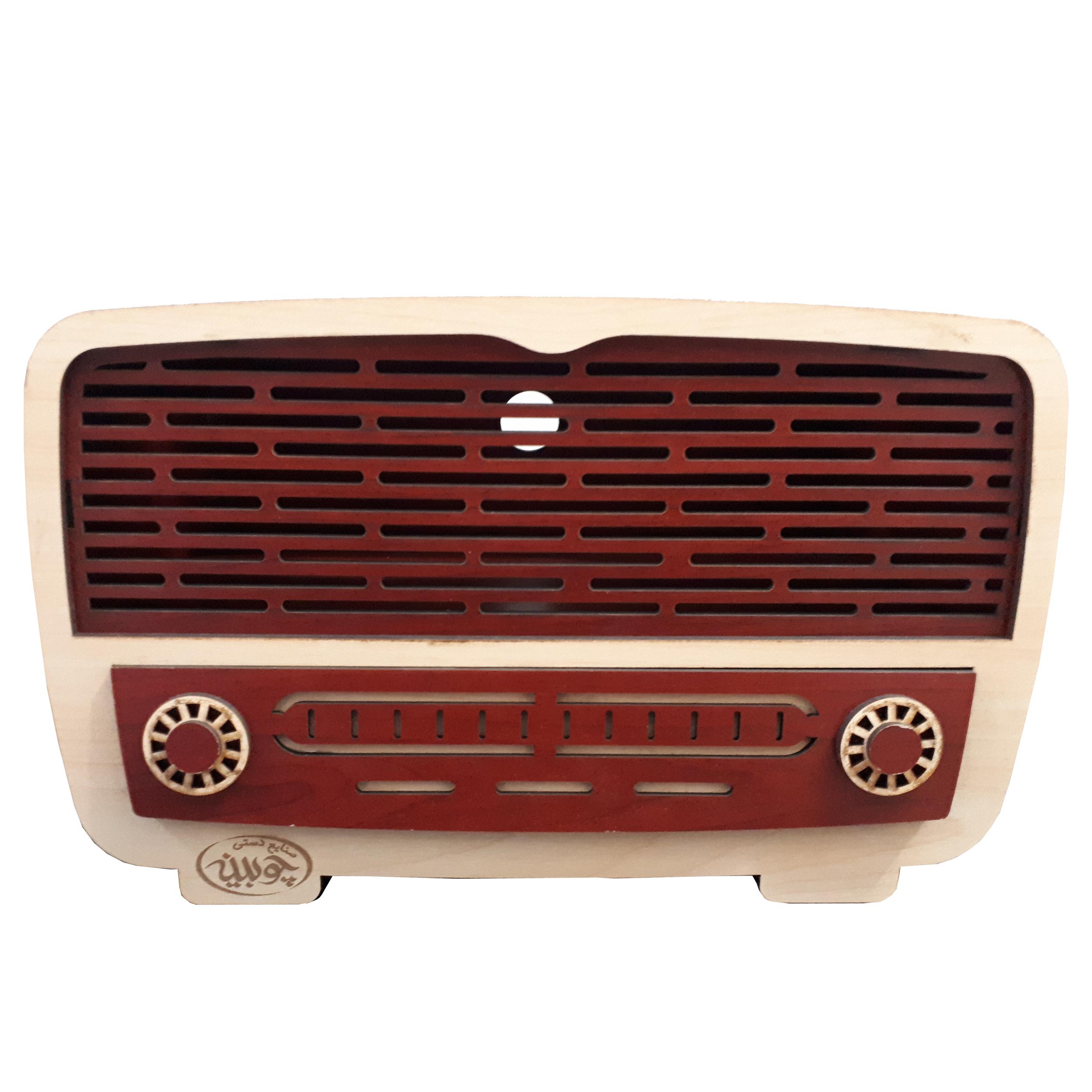 عکس جعبه دستمال کاغذی چوبینه طرح رادیو قدیمی