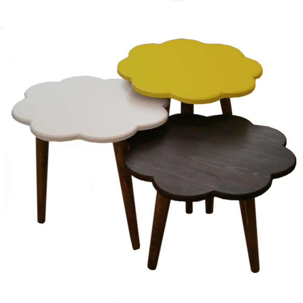 میز عسلی طرح گل کد 24 مجموعه 3 عددی