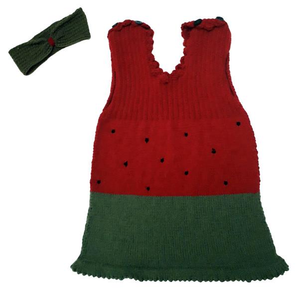 ست پیراهن بافتنی طرح هندوانه کد 456