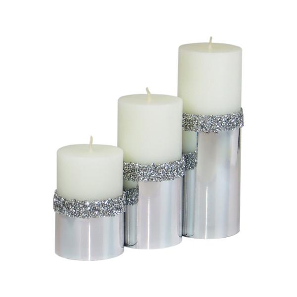 شمع استوانه طرح سنگی 8 مجموعه 3 عددی