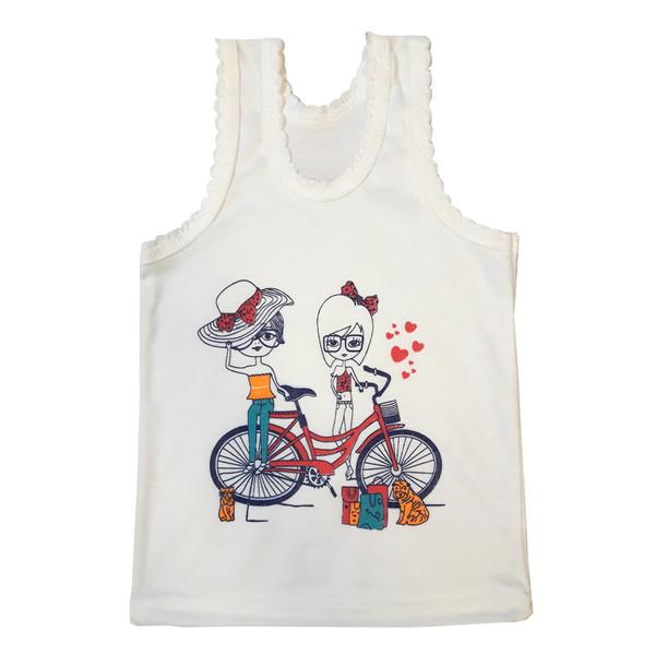 تاپ دخترانه طرح دوچرخه رنگ سفید