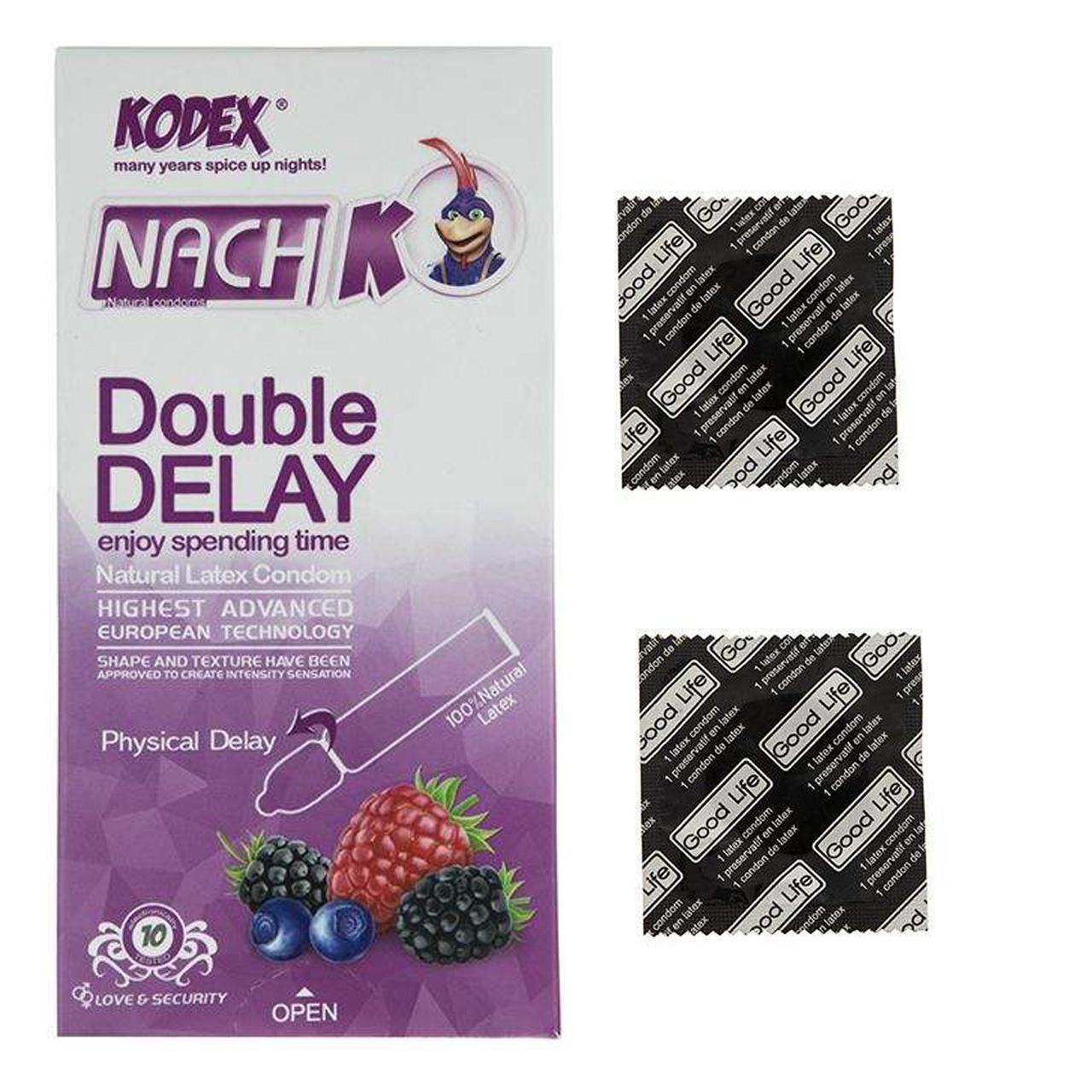 خرید                      کاندوم ناچ کدکس مدل Double Delay بسته 10 عددی به همراه کاندوم گود لایف مدل کلاسیک مجموعه 2 عددی