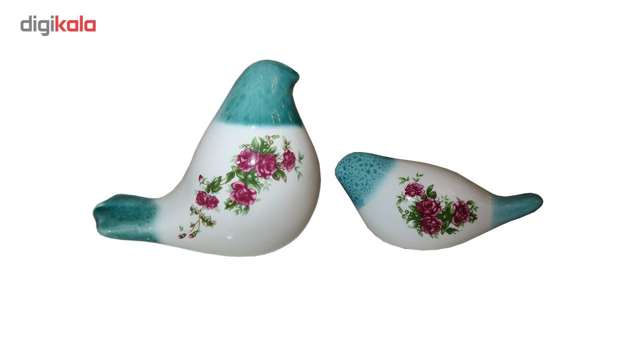 پرنده و گنجشک سرامیکی سارا مدل گل سرخی 0901