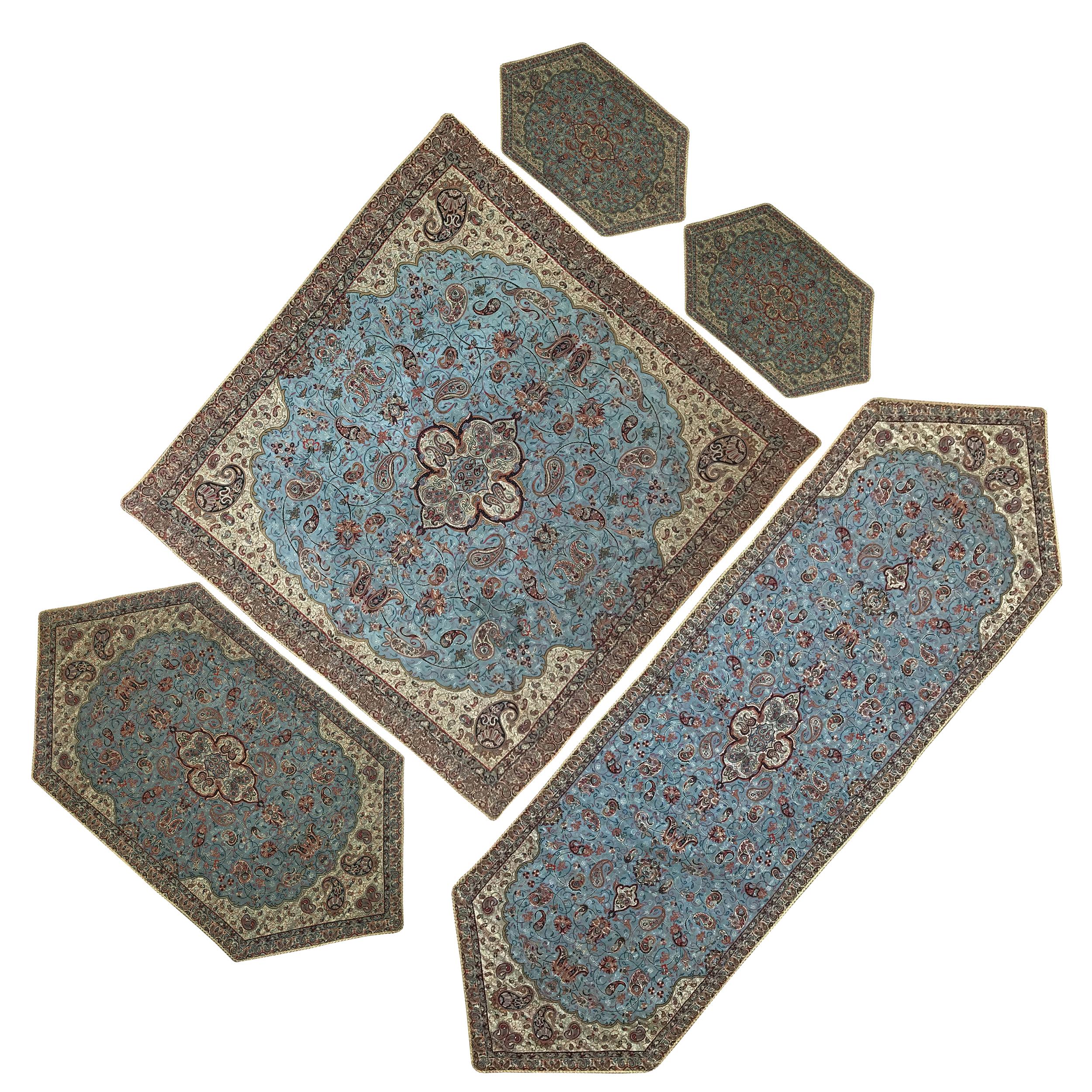 ست 5 تکه رومیزی ترمه ابریشمی حسینی طرح شاه عباسی کد 802