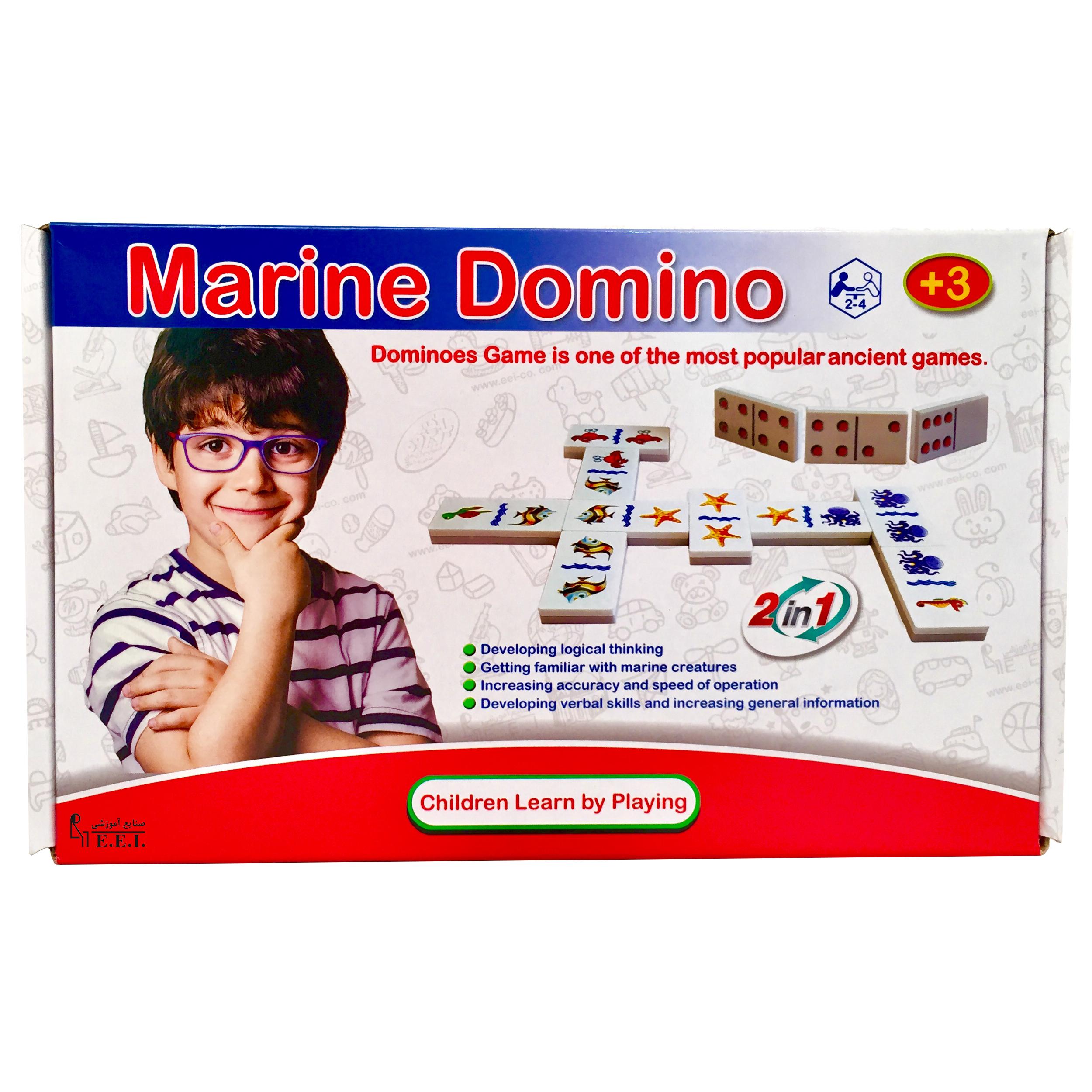 بازی فکری دومینو دوطرفه نقطه و حیوانات صنایع آموزشی کد 0346
