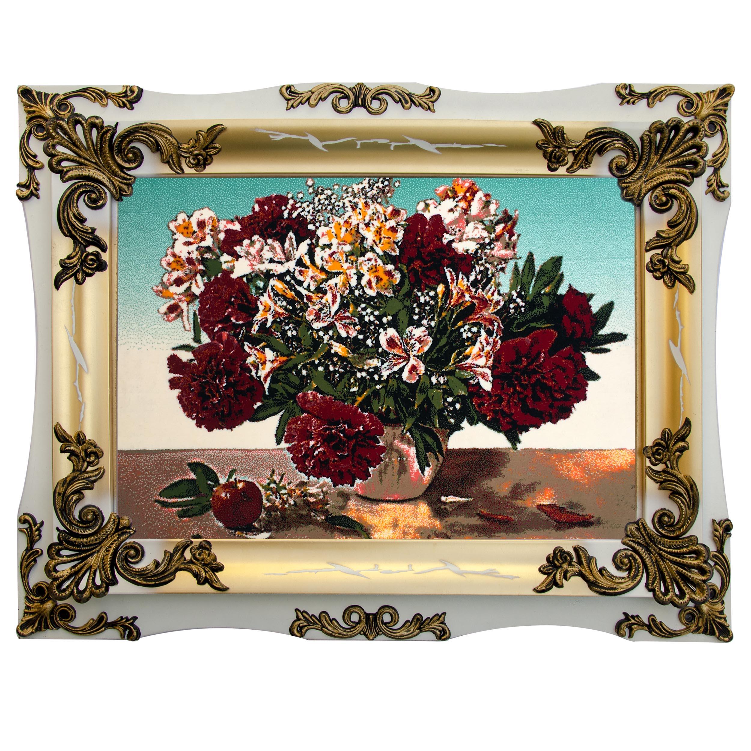 تابلو فرش ماشینی چارسوق فرشان طرح گلدان کد 57026
