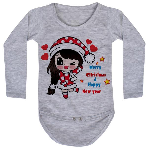 بادی آستین بلند نوزاد طرح کریسمس کد AR35