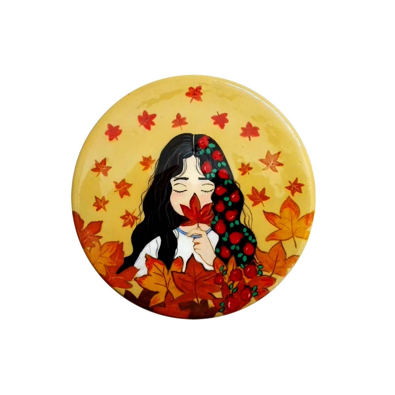بشقاب سفالی طرح نقاشی دختر پاییز کد 14575