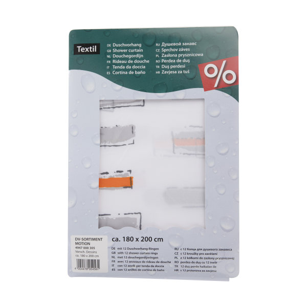 پرده حمام کلین ولک کد 5-4947000305 سایز 180 × 200 سانتی متر