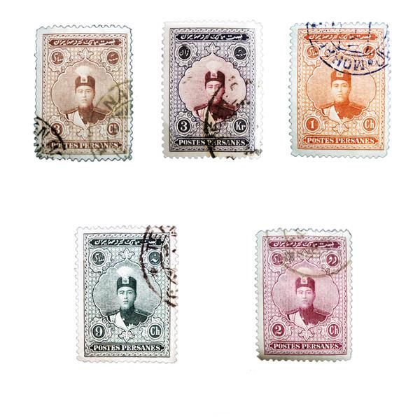 تمبر یادگاری مدل قاجار احمدی کد ahb5 مجموعه 5 عددی