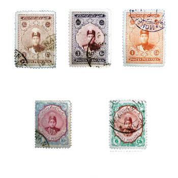 تمبر یادگاری مدل قاجار احمدی کد ahsb5 مجموعه 5 عددی
