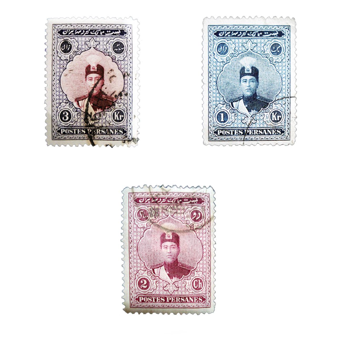 تمبر یادگاری مدل قاجار احمدی کد 3ahb42 مجموعه 3 عددی
