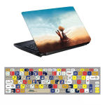 استیکر لپ تاپ طرح شازده کوچولو کد 0909-98 مناسب برای لپ تاپ 15.6 اینچ به همراه برچسب حروف فارسی کیبورد thumb