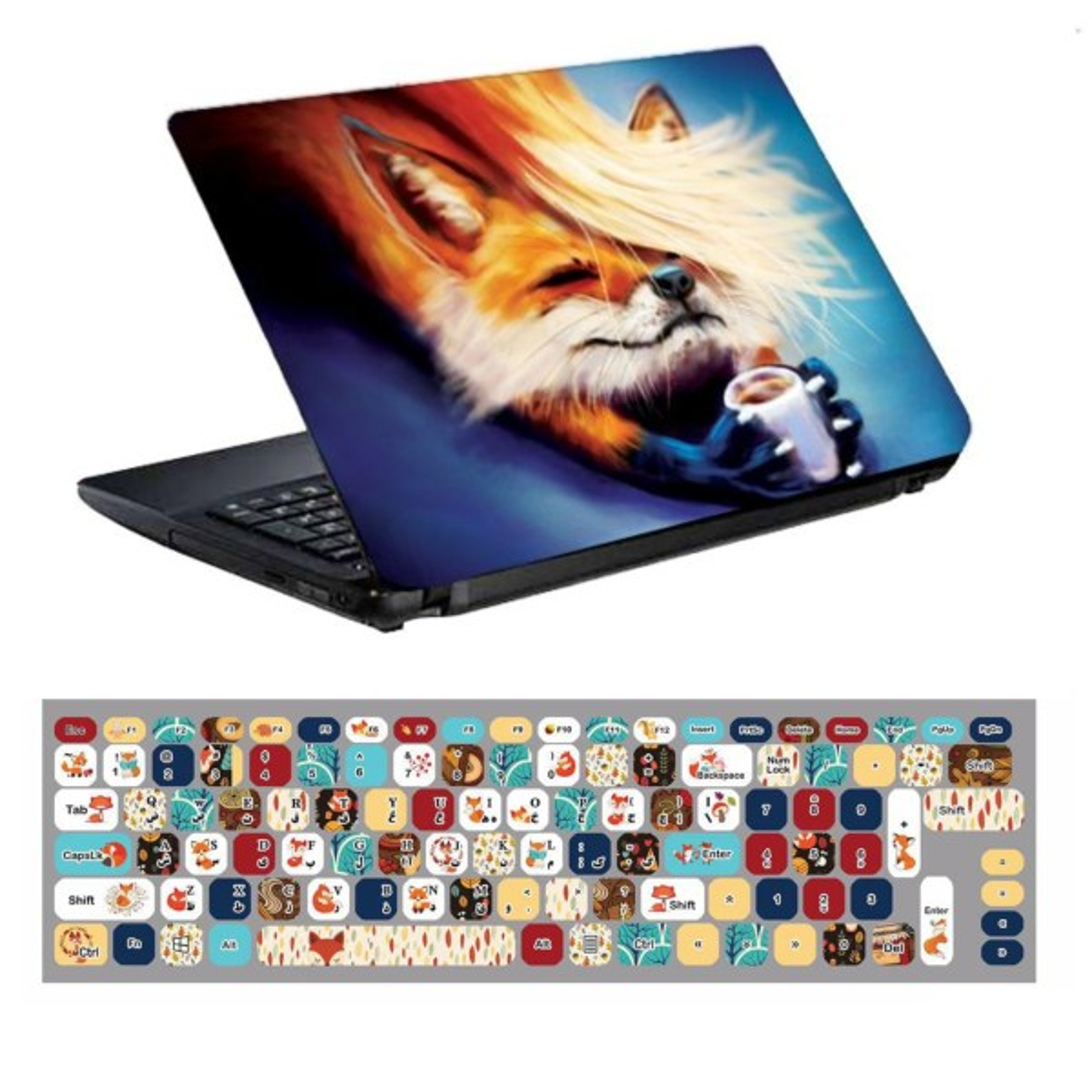 استیکر لپ تاپ طرح روباه کد 0909-98 مناسب برای لپ تاپ 15.6 اینچ به همراه برچسب حروف فارسی کیبورد