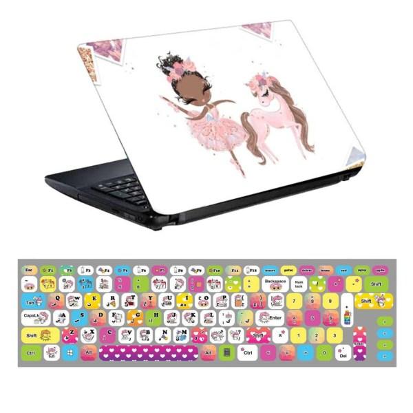 استیکر لپ تاپ طرح یونیکورن کد 0909-98 مناسب برای لپ تاپ 15.6 اینچ به همراه برچسب حروف فارسی کیبورد