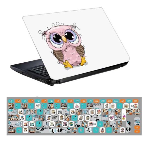 استیکر لپ تاپ طرح جغد کد 0909-98 مناسب برای لپ تاپ 15.6 اینچ به همراه برچسب حروف فارسی کیبورد