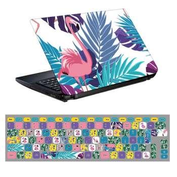 استیکر لپ تاپ طرح فلامینگو کد 0909-98 مناسب برای لپ تاپ 15.6 اینچ به همراه برچسب حروف فارسی کیبورد