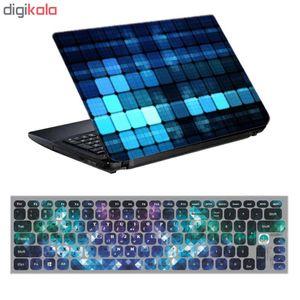 استیکر لپ تاپ طرح الماس کد 0909-98 مناسب برای لپ تاپ 15.6 اینچ به همراه برچسب حروف فارسی کیبورد