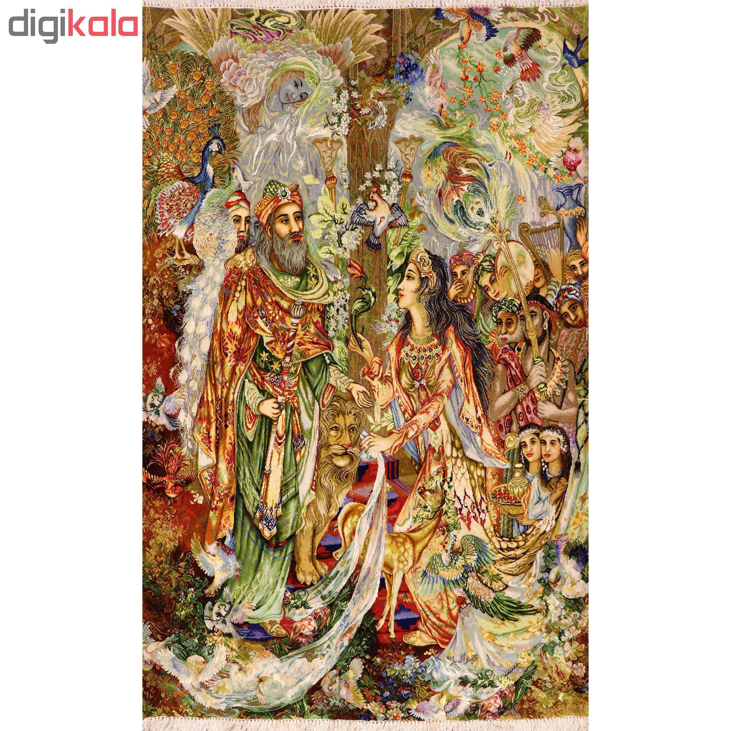 فرش دستباف دیوارکوب آنافرش طرح مینیاتور حضرت سلیمان کد 11320