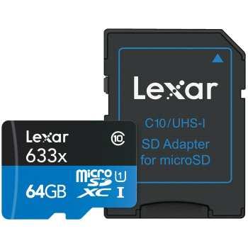 کارت حافظه microSDXC لکسار مدل High-Performance کلاس 10 استاندارد UHS-I U1 سرعت 95MBps 633X همراه با آداپتور SD ظرفیت 64 گیگابایت