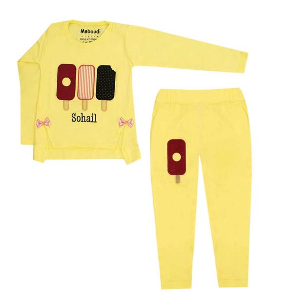 ست تی شرت و شلوار دخترانه کد 21-812