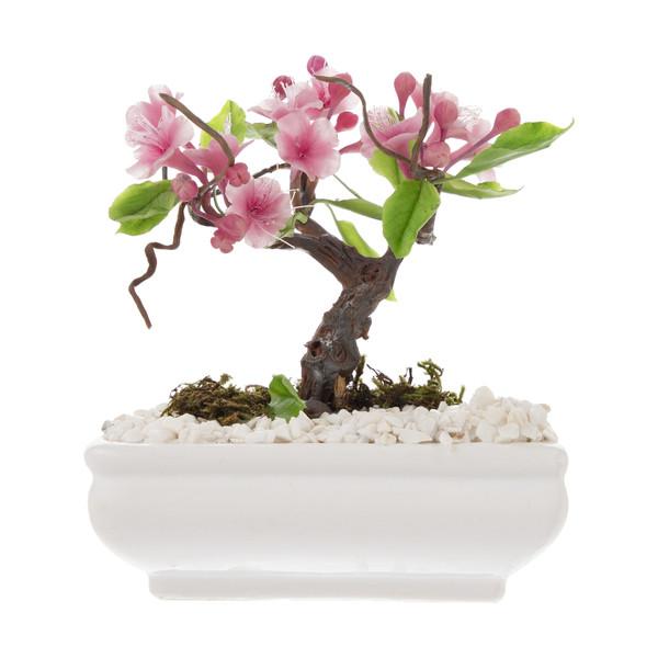 گلدان به همراه گل مصنوعی طرح شکوفه گیلاس کد 002