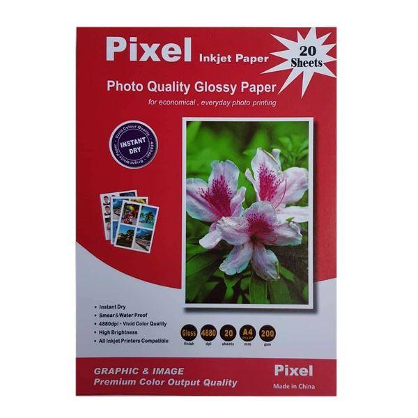 کاغذ چاپ عکس گلاسه پیکسل مدل PHG-200 سایز A4 بسته 20 عددی